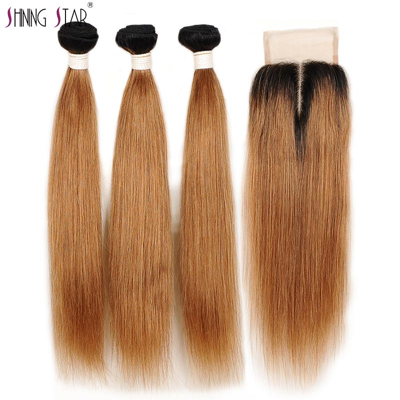Ombre 3 Bundles With Closure Peruvian Straight Human Hair Blonde Bundles With Closure 1B 30 Shining Star Hair Weave Remy Hair