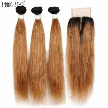 Ombre 3 Bundles With Closure Peruvian Straight Human Hair Blonde Bundles With Closure 1B 30 Shining Star Hair Weave Remy Hair - DISCOUNT ITEM  47% OFF All Category