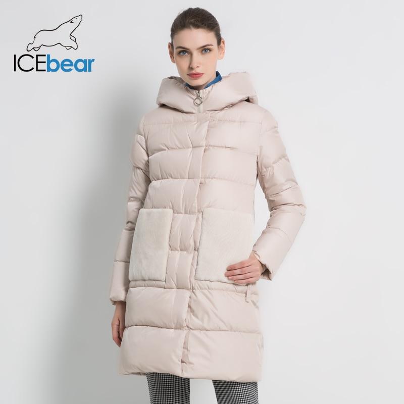ICEbear 2019 Nieuwe Winter vrouwen Parka vrouwen Winter Jacket Hooded Vrouwelijke Jassen Lange Vrouw Katoen Vrouw Merk Kleding GWD18213I-in Parka's van Dames Kleding op  Groep 1
