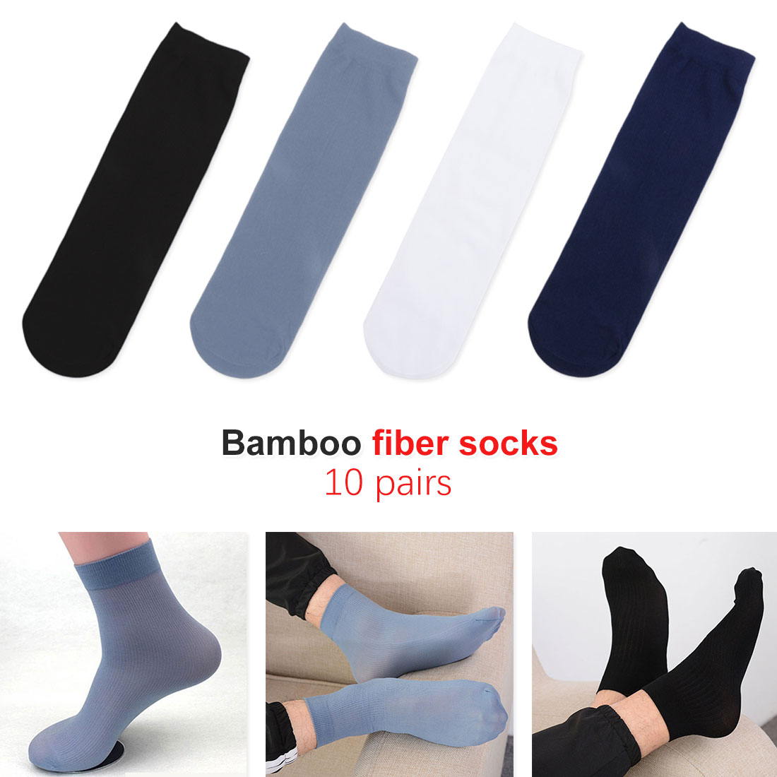 10 Pairs Men Socks Solid Color Bamboo Fiber Ultra-thin Elastic Silky Short Stockings Summer Bamboo Fiber Silky Casual Socks