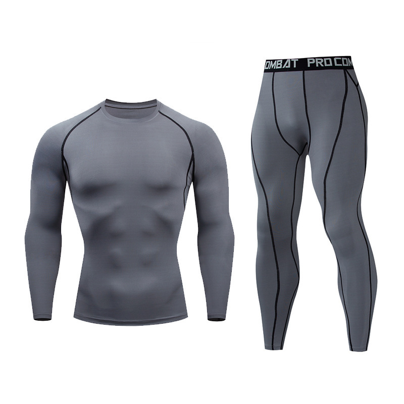 Joggers Quick Drying Fitness Suit Men's Tight Long Sleeve + Trousers Solid Running Basketball Training Gym Men's Wear 2 Piece Se