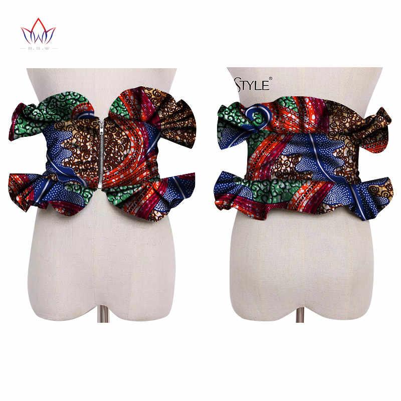 Châu Phi 2019 In Obi Ankara Nhiều màu Peplum Váy Nữ Tặng Tuyên Bố Đai Phụ Kiện Ankara Đồ Trang Sức SP041