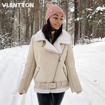Autumn Winter Slim Sashes PU Faux Leather Jacket Coat Women Solid Zipper Casual Thick Warm Wool Lamb Jackets Outwear Female Tops 1