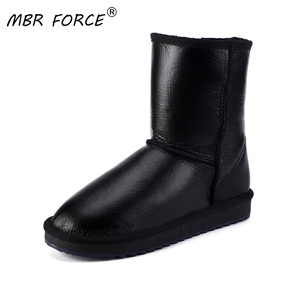 MBR FORCE Classic Sheepskin Leather Wool Fur Lined Women Mid-calf Winter Boots for Woman Basic Snow Boots Shoes Waterproof woman