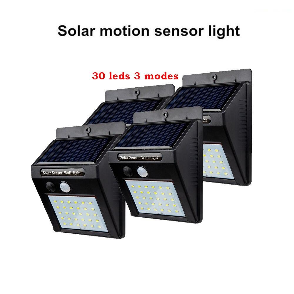 2/4PCS 30 LED Dual Head Solar Light Radar Sensor Spotlight Outdoors Solar Garden Light Super Bright Yard Flood LED Lamp Waterpro