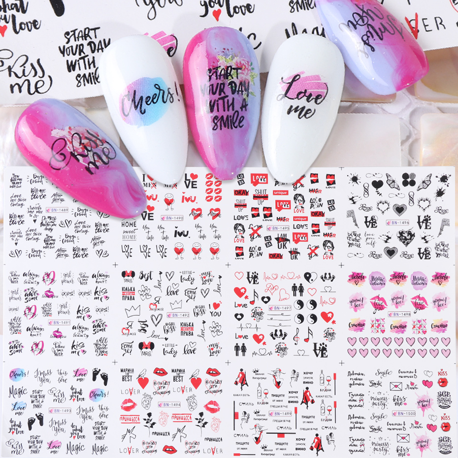 12pcs Nail Art Stickers Love Word Heart Letters Water Transfer Decals Set Slider Tattoo Foil Valentine Decorations TRBN1489-1500