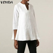 VONDA Women'Tunic Vintage Cotton Linen Blouses Casual Tops Sexy 3/4 Sleeve V Neck Solid Shirts Plus Size Loose Blusas Femininas
