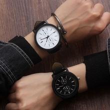 Часы мужские кожаные 2020 черные кварцевые минималистичные наручные