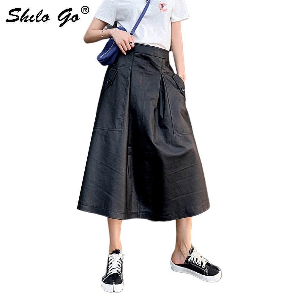 Genuine Leather Skirt Black Side Pocekt High Waist Pocket Side Pleated A Line Skirt Womens Autumn Elegant Casual Long Skirts