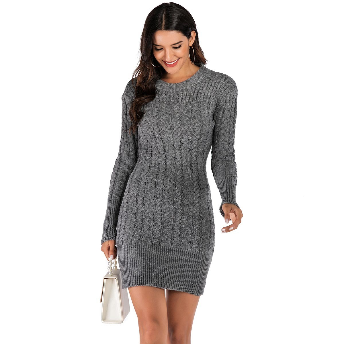 Casual Knitted Sweater Dress Long Sleeve O-Neck Bodycon Short Autumn Winter Dress Women Sexy Grey Pencil Dress Robe Femme 2020