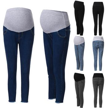 Jeansy ciążowe dla kobiet w ciąży spodnie ciążowe ubrania ciążowe wiosna lato 2020 spodnie ciążowe Plus rozmiar # Y2 tanie i dobre opinie Eillysevens Sukno Elastyczny pas Naturalny kolor light skinny COTTON