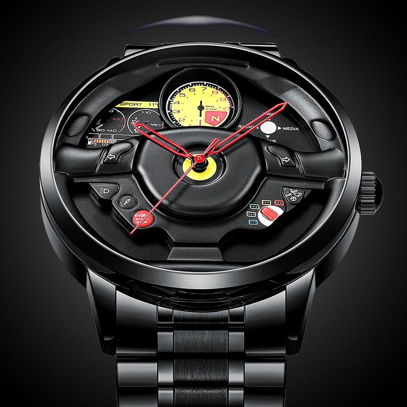 NEKTOM Men Quartz Watch Men Custom Design Super Car Wheel Rim Hub Watch Stainless Steel Waterproof Car Steering Wheel Watches