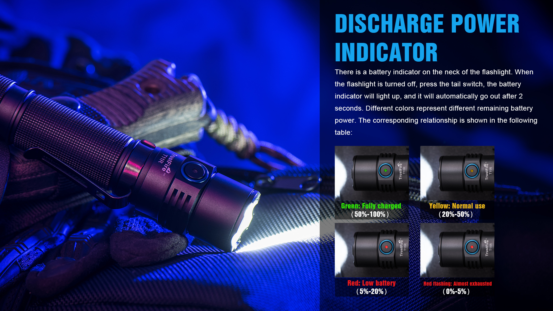 Trustfire-lanterna t11r, lanterna tocha tática 1800 lúmens
