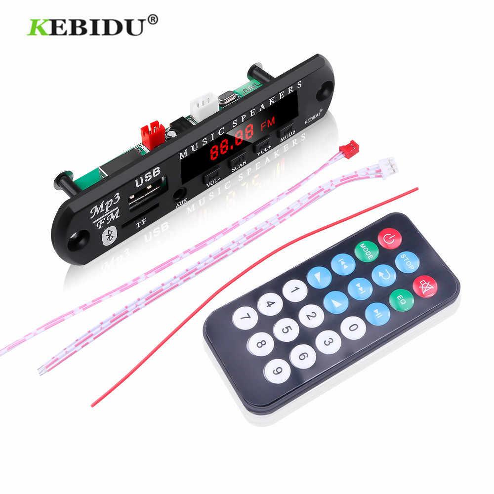 KEBIDU 5V 12V MP3 Audio WMA Modulo Scheda di Decodifica USB TF Radio Bluetooth5.0 Senza Fili di Musica Auto Lettore MP3 con Telecomando di Controllo