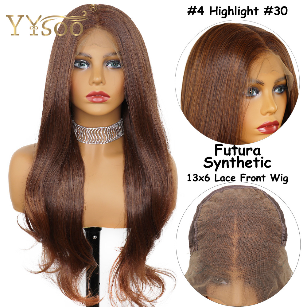 YYsoo Long Ombre 13x6 Futura Synthetic Lace Front Wavy Wigs For Women Natural Hairline Heat Resistant Fiber Highlight Soft Wig