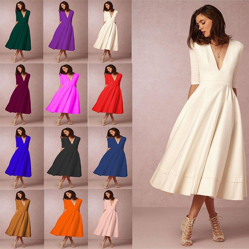 ชุดฤดูหนาวฤดูใบไม้ร่วงผู้หญิง 2019 Casual Vintage Elegant เซ็กซี่ครึ่งแขนเสื้อลึก V คอชุดบอลชุดยาว Plus ขนาด