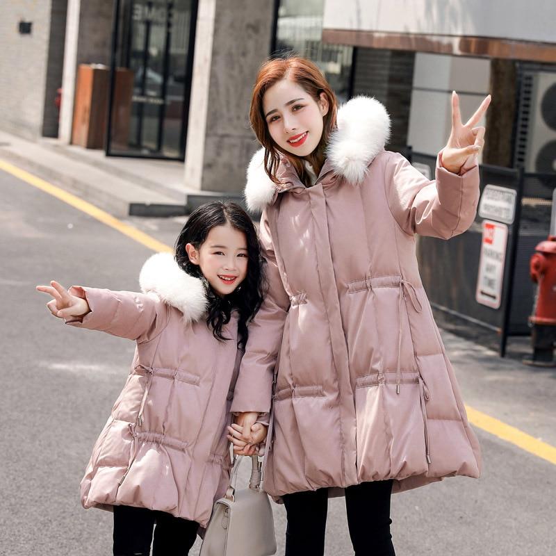 WLG/зимние Семейные комплекты; толстые теплые парки для мамы и дочки; Цвет черный, розовый