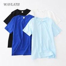 WAVLATII – t-shirt en coton pour femme, haut décontracté, surdimensionné, bleu, blanc, noir, été, WT2103, 2021