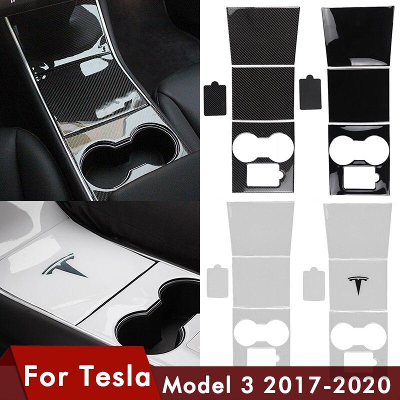 4 pièces/ensemble Model3 habillage de Console centrale de voiture pour Tesla modèle 3 fibre de carbone noir colle rouge modèle 3 pour Tesla il accessoires de voiture