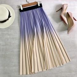 2021 moda feminina saias plissadas cintura alta elástica menina verão primavera saia longa festa férias feminino a linha mid-calf saia