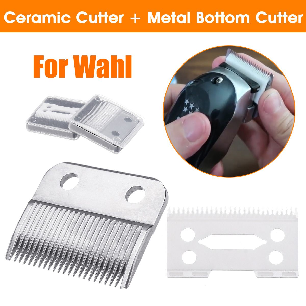 2Pcs Hair Beard Ceramic Blade Cutter + Metal Bottom Cutter Electric Shear Replacement For Wahl Electric Shear Clipper Set Silver