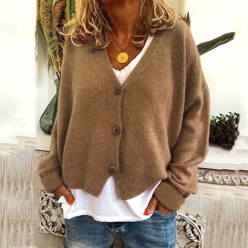 2020 Loose Knitted Cardigan Women Long Sleeve Sweaters Ladies Cardigan V-neck Oversized Cardigan Knitted Sweater For Women 3XL