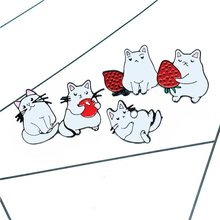 5 Styles Cute Greedy Cats Enamel Pins Strawberry Brooch Denim Jeans Backpack Cartoon Animal Jewelry Gift for Friends Kids(China)