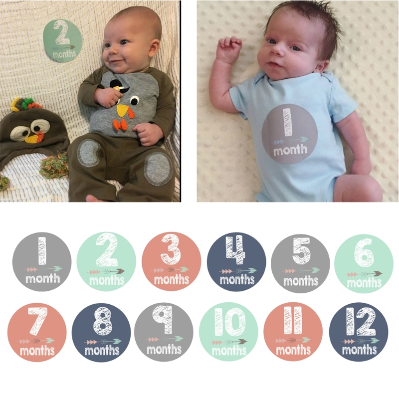 New Baby Pregnant Women Monthly Photograph Stickers Month 1-12 Milestone Sticker