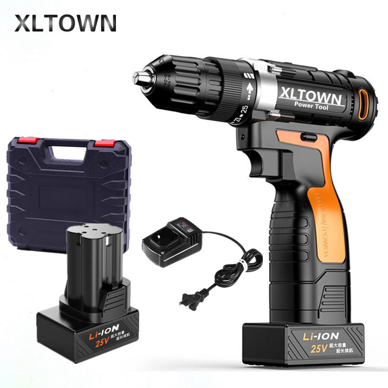 XLTOWN 12/16.8/25V electric screwdriver with 2 batteryrechargeable lithium battery hand drill cordless drill power tools