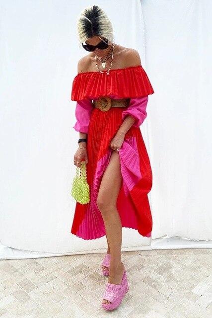Women Slash Neck Off The Shoulder Dresses Women Plus Size Summer red Ruffles Bandage Patchwork Pleated belt big Long Dress 4