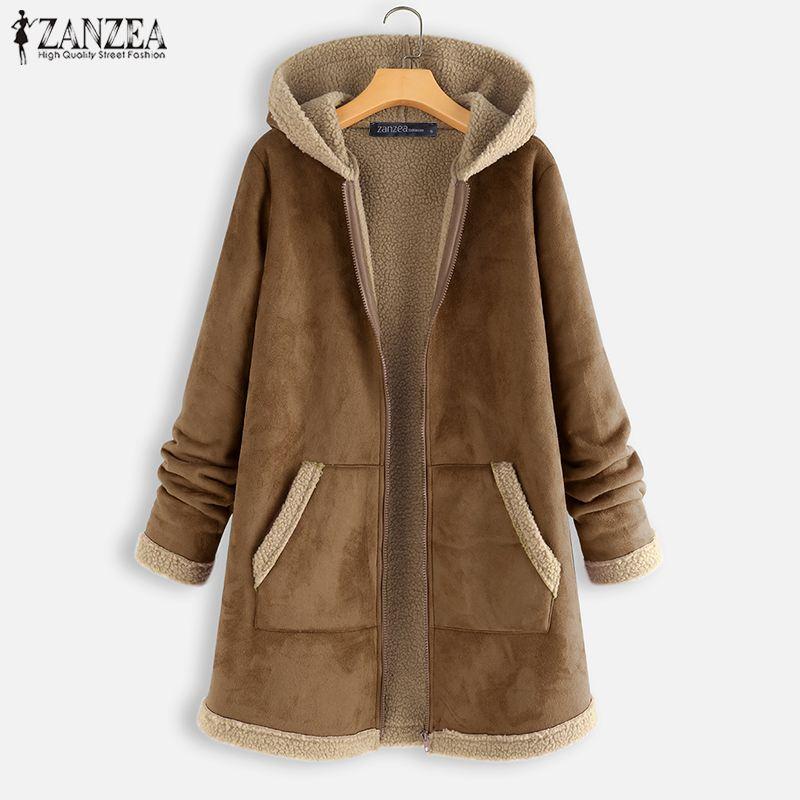 Coats Hoodies ZANZEA Vintage Women Jackets Outwear Zipper Long-Sleeve Fleece Winter Solid