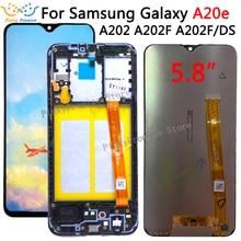 Dla Samsung Galaxy A20e A202 A202F A202DS wyświetlacz ekran dotykowy Digitizer zgromadzenie A202 A202F/DS dla SAMSUNG A20e LCD