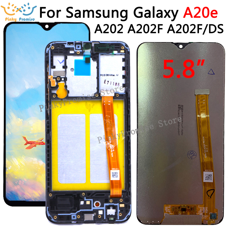 For Samsung Galaxy A20e A202 A202F A202DS Display Touch Screen  Digitizer Assembly A202 A202F/DS For SAMSUNG A20e LCDMobile Phone LCD  Screens