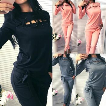 цена на Fashion 2Pcs/Set Women Tracksuit Solid Color Hollow Long Sleeve O Neck Blouse Pants Set Tracksuit Pullover Sweatshirt Female