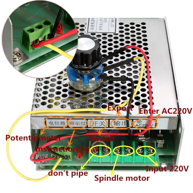0.5kw refroidi par Air broche ER11 mandrin CNC 500W moteur de broche + pinces 52mm + régulateur de vitesse dalimentation pour bricolage CNC