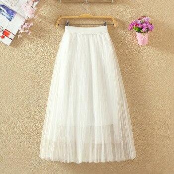 Spring 2019 new all-around white mesh skirt high waist skirt women's medium long pleated skirt student long skirt