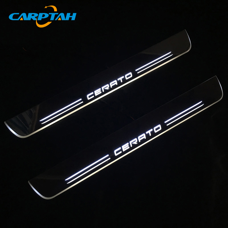 CARPTAH Trim Pedal Car Exterior Parts LED Door Sill Scuff Plate Pathway Dynamic Streamer light For Kia Cerato 2009-2013 2014