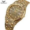 ONOLA خمر أفضل الساعات للرجل مقاوم للماء سوار فولاذي الأصلي ساعة اليد نمط كلاسيكي مصمم العلامة التجارية الفاخرة رجالي ساعة ذهبية
