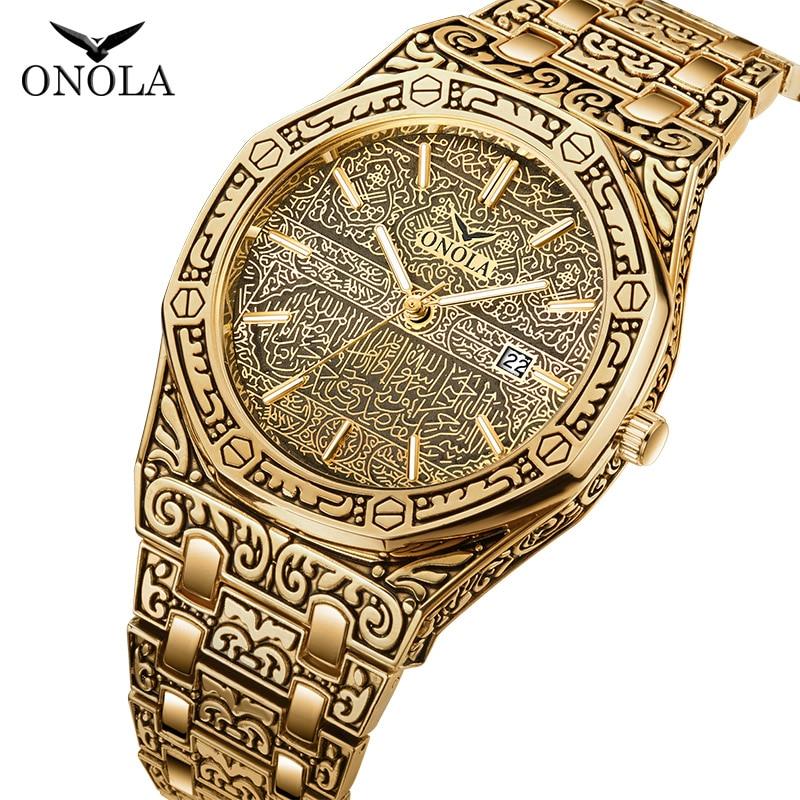 ONOLA Vintage Best Watches For Man Waterproof Original Steel Band Wristwatch Style Classic Designer Luxury Brand Mens Gold Watch