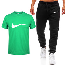 2019 Summer Hot Sale Mens Sets T Shirts+pants Two Pieces Casual Tracksuit new Male Tshirt Gyms Fitness trousers men