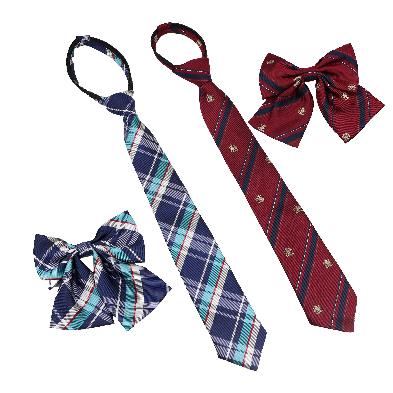 New Arrival Girl/Boy Summer School Formal Uniform Tie Set Colorful Stripe Plaid British Ties For Student Children Bowtie Necktie