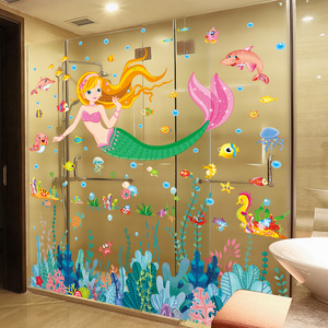 [Shijuekongjian] настенные наклейки Русалочки с водорослями DIY, настенные наклейки для детской комнаты, украшения для детской спальни, ванной комна...
