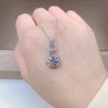 Collier en argent Sterling pour femmes, pendentif en diamant, S925, bijou blanc, VS1, accessoire fin, bijou 925