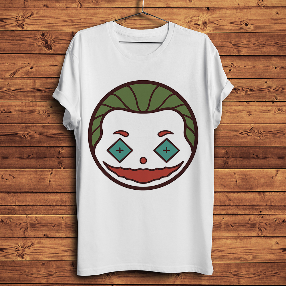 Joker Joaquin Phoenix Badge Icon Funny T Shirt Men 2019 Summer New White Casual Homme Cool Tshirt