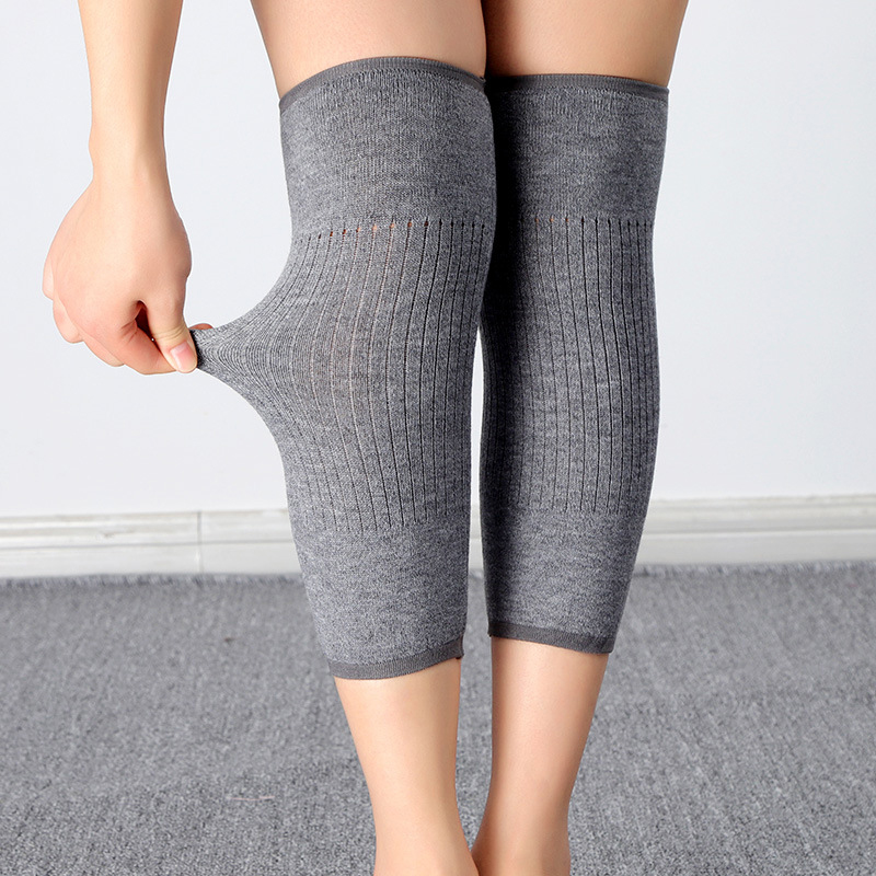 Unisex Winter Warm Knitted Wool Kneepads Soft Thicker Warmer Sports Knee Protector Elastic Anti-sprain Compression Knee Support