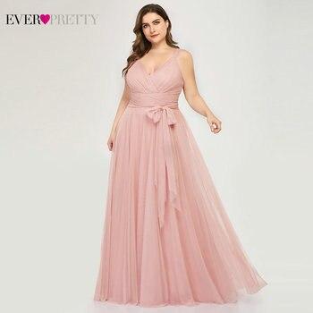 Plus Size Bridesmaid Dresses Ever Pretty EP07303 Blush Pink A-Line V-Neck Tulle Elegant Lavande Long Dress For Wedding Party