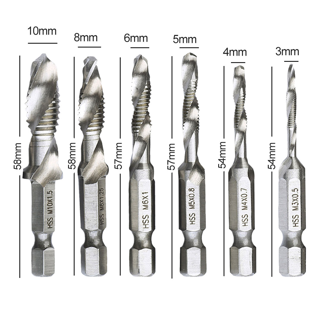 58mm Hex Shank HSS Metric Hand Screw Thread Tap Taper Tool Drill Bit Hotsale