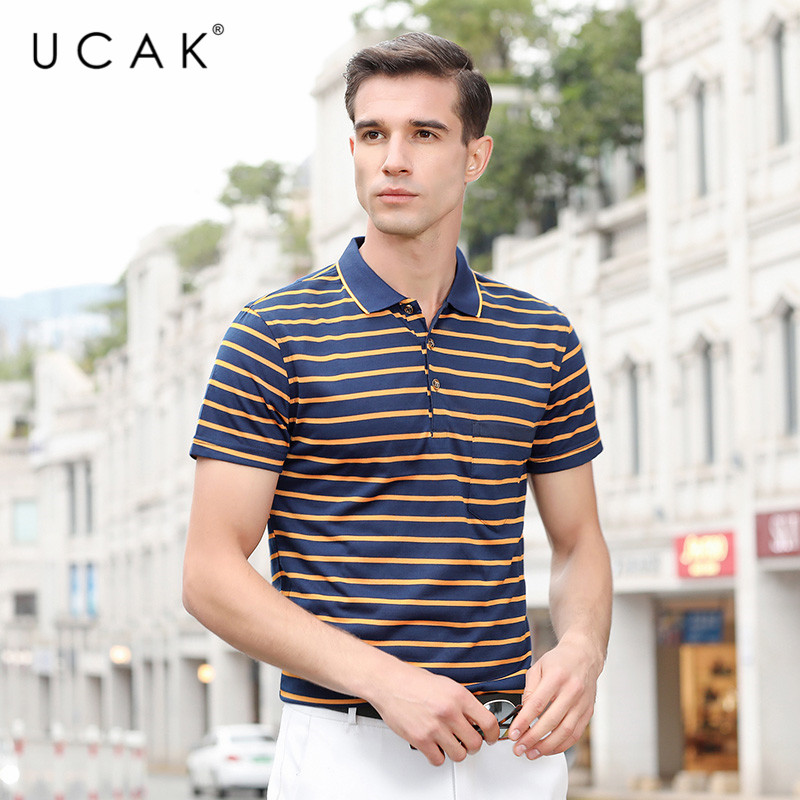 UCAK Brand Summer Striped T-shirt Clothing Streetwear Short Sleeve Polyester T Shirt Homme Turn-down Collar Clothes Men  U5231