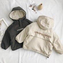 WLG Winter boys girls parkas kids velvet hooded long sleeve letter printed beige gray coat baby thick clothes