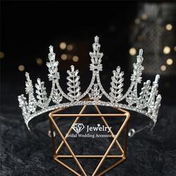 CC Tiara pałąk ślubne akcesoria do włosów dla kobiet panna młoda luksusowe Hairwear księżniczka korony CZ kamień biżuterii HG1287